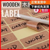 Simple retro label sticker wood quality hand-written self-adhesive circular hand-written label sticker label bottle sticker hand-written price waterproof wood home decoration self-adhesive classification bottle sticker sticker sticker
