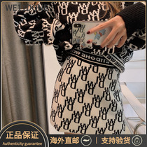 Official website we11done new double-sided wear printed letters knitted skirt welldone wool skirt