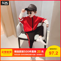Left West childrens clothing boy suit 2020 spring new tide in the Big childrens Network red ins wind sports casual clothes men