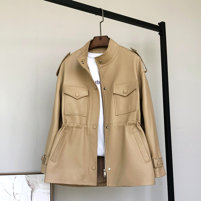 Simeis Fei workwear leather womens middle-length version of the small waist sheepskin windcoat jacket 2020 new model