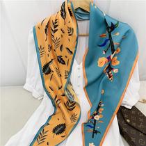 Korean version of the diamond towel autumn and winter thin scarf lazy silk scarf Womens wild decorative gauze scarf scarf scarf scarf small scarf