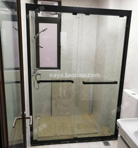 304 stainless steel shaped shower room custom shower partition bathroom dry and wet separation double movable glass sliding door
