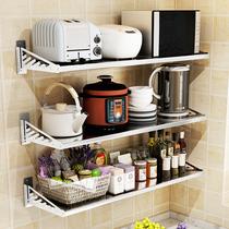No-punch cuisine rack mur en acier inoxydable suspendu par le cintre mural four étagère de stockage de cuisinière de riz