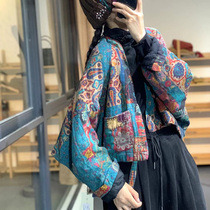 Sufanka winter National style literary Chinese style printed linen cotton padded thick short coat thin cotton coat womens cotton coat