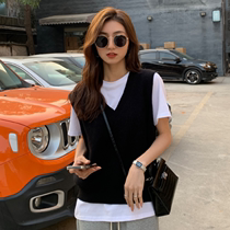 Japanese Knitted vest sweater female 2021 spring new wild temperament stacked sleeveless top