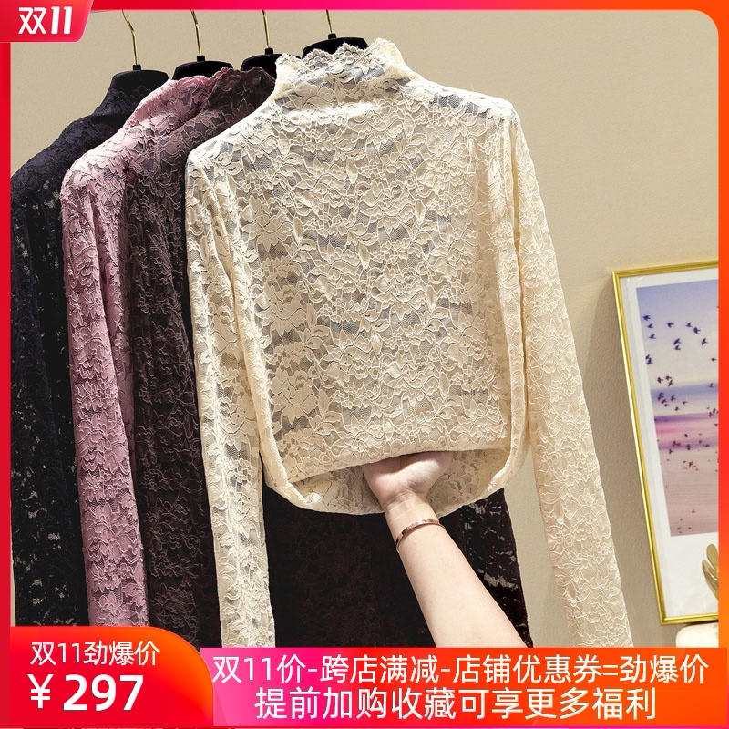 Semi-high-necked lace bottoms womens spring and autumn hollow hundred with 2020 new foreign pie sexy inner top womens long sleeves