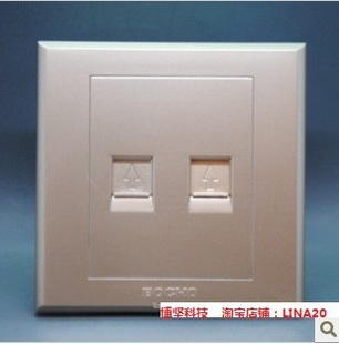 BOCHO Bojian switch socket C50 champagne gold two telephone socket 86 two telephone panel socket positive