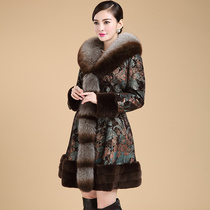 Fox fur collar leather down jacket flower leather clothing womens long fur middle-aged Fashion mother dress foreign coat