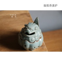 Lin Songlongquan Qing porcelain incense furnace ring incense indoor household tower incense Zen purifying air-style study 狻猊 furnace
