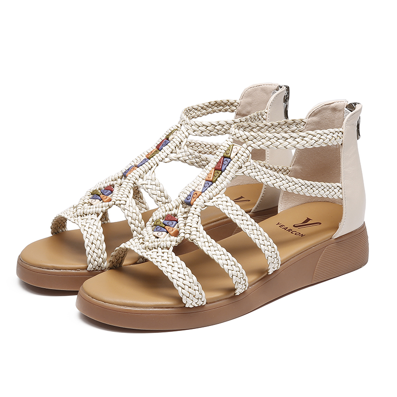 Yierkang women's shoes 2018 summer new woven wedge sandals comfortable casual beach simple fashion sandals women