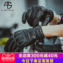 Alien snail spring motorcycle gloves male retro gloves sheepskin motorcycle gloves anti-drop windproof Knight gloves