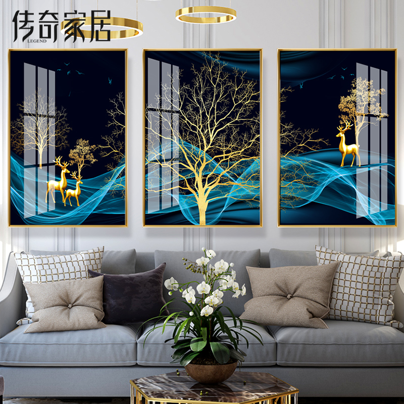 Crystal Porcelain Painting Modern Simple Living Room Decoration Painting Sofa Background Wall Triple Painting Atmospheric Light Luxury Fresco Scandinavian Painting