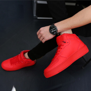 The winter men high shoes sports shoes and leisure shoes in Korean hip-hop plus cotton shoes red shoes