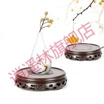Pot de fleurs de pot de fleurs de la gourde de la base de plateau circulaire en bois de jade étrange pierre vase Aquarium Bouddha de pédalier