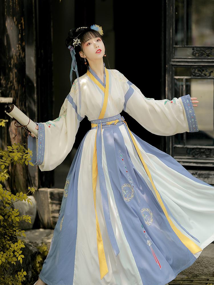 Han time (with blue tone)Han clothing women original Jin made waist collar daily spring thin ten broken skirt