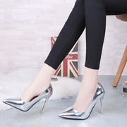 In the spring of 2017 Korean super sexy pointed high-heeled shoes with a fine Club shallow mouth shoes shoes all-match silver mirror