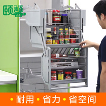 Cabinet hanging Cabinet lifting basket drop-down kitchen refrigerator above the top space above the storage rack