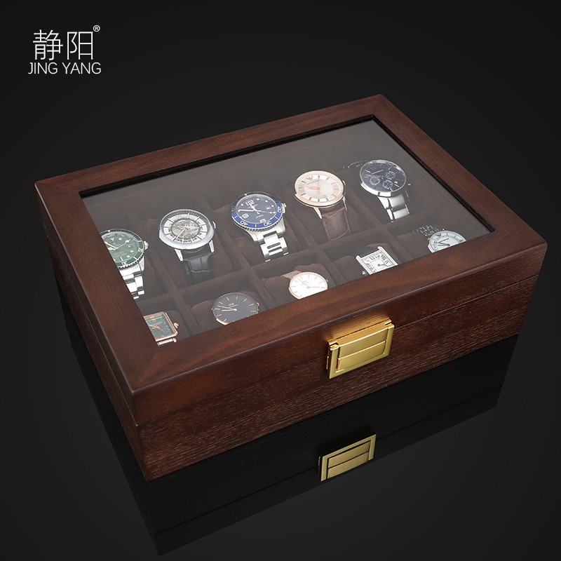 Chinese multi-functional wooden jewelry 錶 box storage box ancient high-end with lock simple portable set-up table box