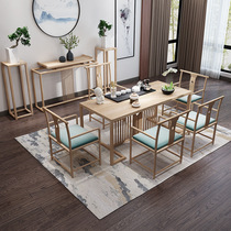 Office Kung Fu Tea Table solid wood tea table new Chinese modern simple zen wood home tea table and chair combination