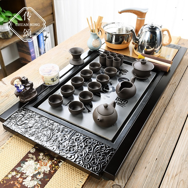 Kung Fu tea set new Chinese teapot home simple tea ceremony fully automatic all-in-one living room modern set of tea plates