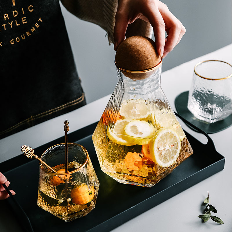 Celebrating transparent creative geometric glass cold kettle set water cup tea set simple home hammer-print cold kettle