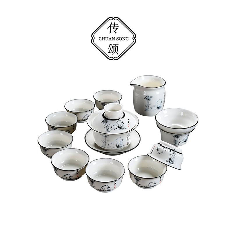 Tributes Simple retro kung fu tea set white porcelain tea set cover bowl tea sea tea cup set of tea sets