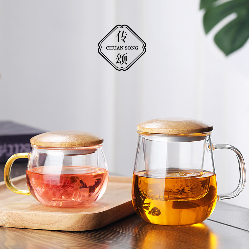 Praise thickened office tea separated teacum net red glass belt to the wood cover to withstand high temperature filter water cup