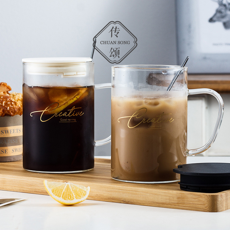 Celebrating the creative transparent glass cup large band put the mug office teacourt dessert cup oat breakfast cup