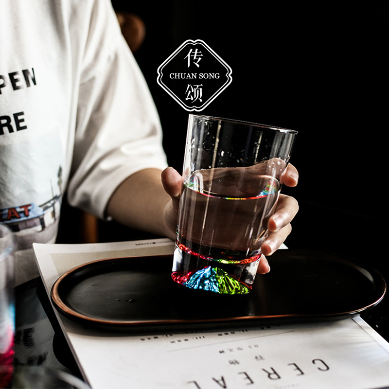 Tribute to the Japanese-style transparent glass glass creative colorful snow mountain cup teacup juice cup wine glass home water cup
