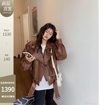 COCO limitedHong Kong style beauty imported tanned sheepskin leather jacket womens leather jacket