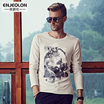 British Viscount ink printing Chinese style men's printed long sleeve t shirt designs shirts at the end of street fashion