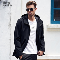 British Viscount Europe simple solid color men's fashion casual Jacket youth handsome hooded trench coat jacket