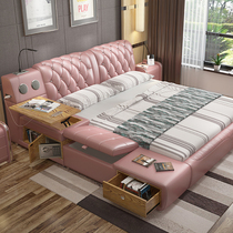 Leather bed double bed 2 M 2 2 double bed master bedroom simple modern high-end European tatami bedroom multifunctional marriage bed