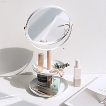 Japanese simple desktop storage makeup mirror iron double-sided mirror HD amplification creative jewelry storage Disc Table Mirror
