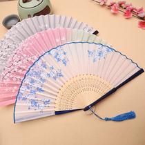 Вентилятор складной вентилятор китайский ветер женщин античный стиль кисточка лето носить классический старинный костюм древние ханьцы сложить небольшой бамбуковый вентилятор