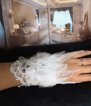 Fashion personality aesthetic white lace feather wrist bride wedding dress accessories wrist Flower Walk show stage