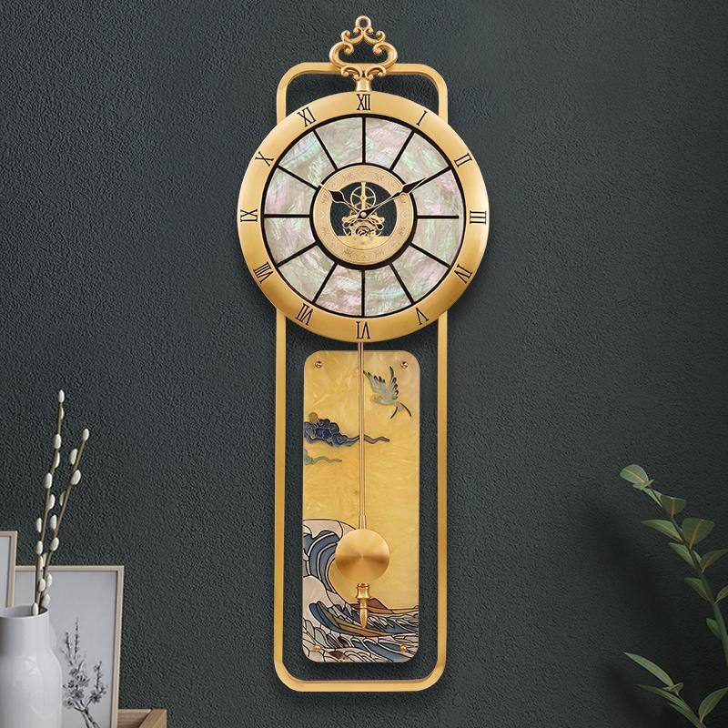 Light luxury pure brass new Chinese 錶 wall clock living room modern wall watch European-style Xuanguan fashion atmospheric clock wall