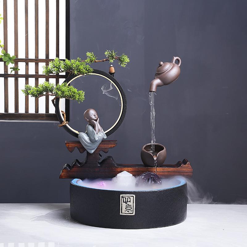 Réservoir de poissons créatif s'écoulant anneau de lampe de décoration d'eau reflow poêle d'encens pour attirer l'argent salon de table intérieure mis en place pour ouvrir le cadeau