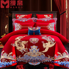 Four sets of big red embroidered wedding beds for pure cotton weddings