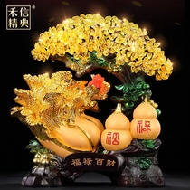 Money-grabbing tree jade cabbage gourd ornament opening gift crystal rich tree home living room wine cabinet decorations