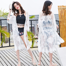 2018 New Beach Holiday womens cardigan long embroidered lace shirt student sunscreen dress lace Dress