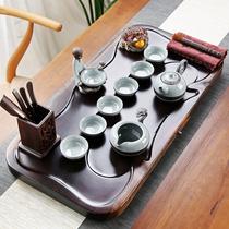 Фиолетовый песок керамический кунг-фу чай набор домой чай чашку простой офис твердых древесины небольшой чайной тарелки черного чайного стола набор