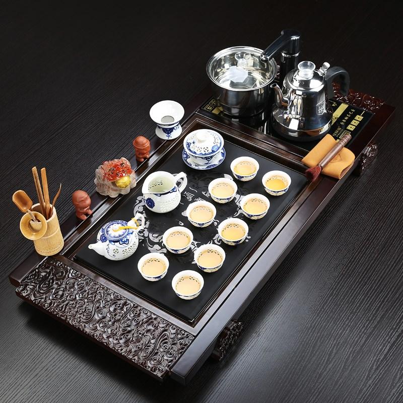 Tea set Family kung fu tea set Wujinshi solid wood tea plate modern minimalist office fully automatic
