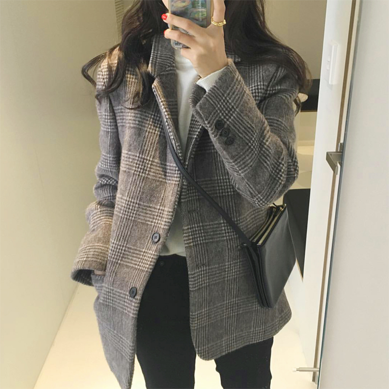 Net red suit jacket women 2020 spring and autumn new slim wool grid ancient thickened small suit jacket