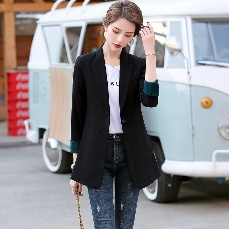 Net red small blazer women 2021 new spring and autumn casual suit top suit temperament Korean version British style