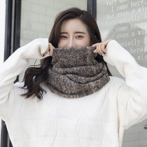 2019 new winter double-circle neck womens wool knitting thick warm couple color matching fashion neck cover