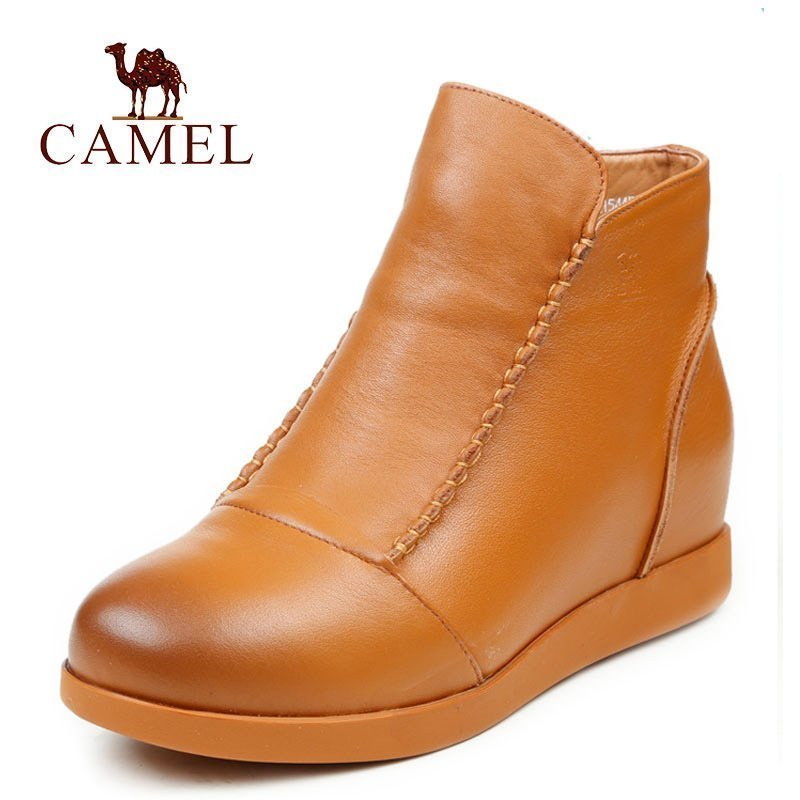 Camel/Camel England Short Boots Leather Women's Shoes Winter Fashion Leather Women's Boots Women's Flat Leather Shoes