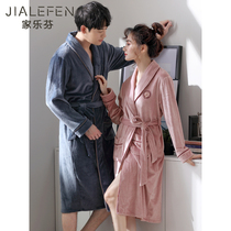 Autumn and winter flannel couple robe mens bathrobe female coral velvet fleece pajamas