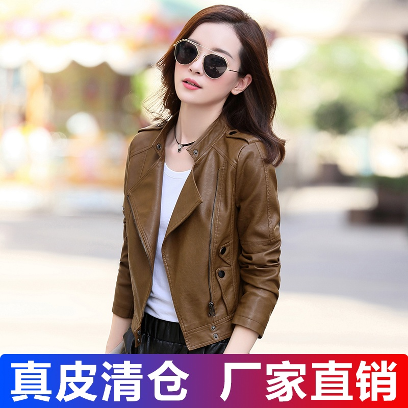 Leather womens short sheepskin 2020 spring and autumn new leather jacket short Korean version slim small coat tide