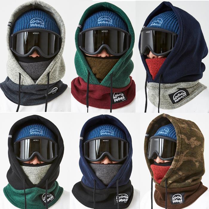 YOBEAT Korean ski hoodie face protection neck cold wind thick warm scarf plus velvet thick helmet pants